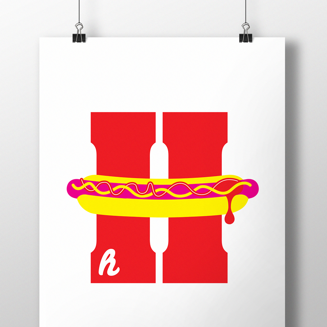 alphablot alphabet illustration hotdog letter h