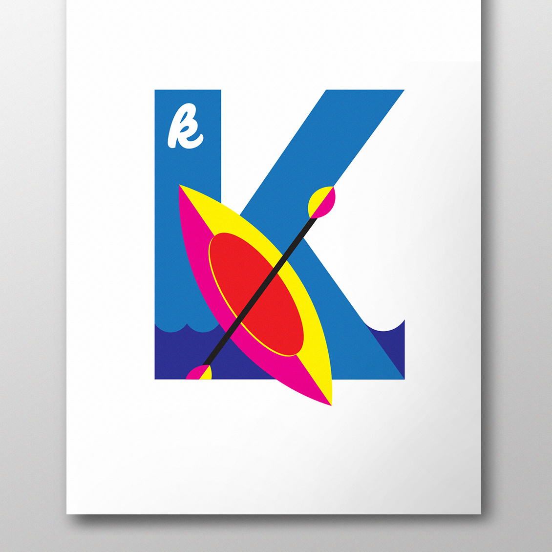 alphablot alphabet illustration kayak letter k