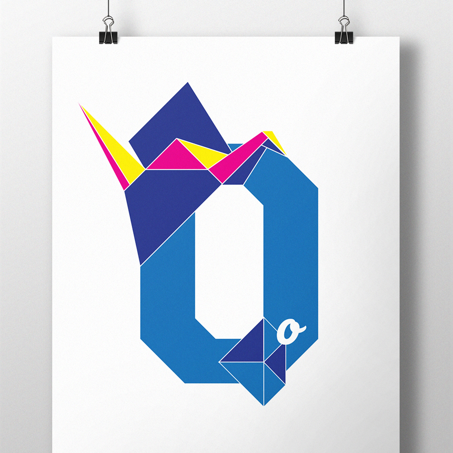 alphablot alphabet illustration origami letter o