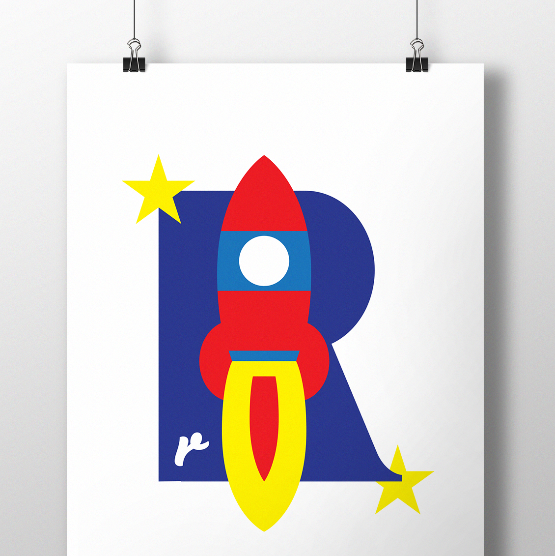alphablot alphabet illustration rocket letter r