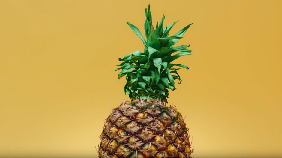 pineapple in yellow studio