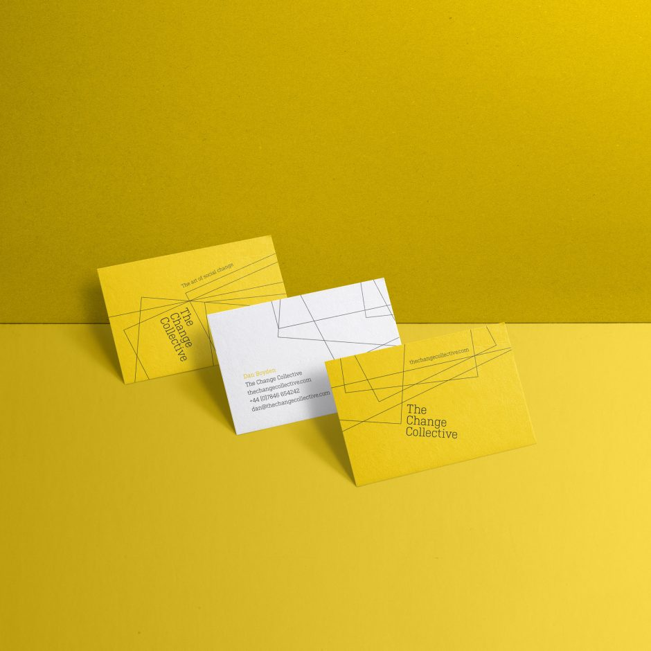 the change collective yellow branded business cards