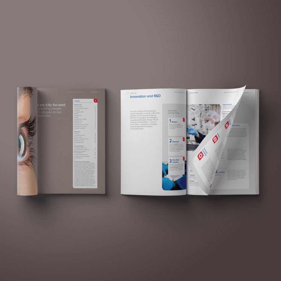 stallergenes greer annual report inside spread layout design